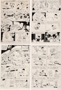 """Memorabilia:Disney, Carl Barks Four Color #456 """"Back to the Klondike"""" Uncle Scrooge Photostats of Unpublished Pages Group of 4 (Dell, ... (Total: 4 Items)"""