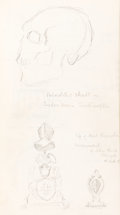 Books:Mystery & Detective Fiction, R. Austin Freeman. Sketchbook. [London?: unpublished sketches, July 1912-November 1913]. Original holograph pencil sketches ...