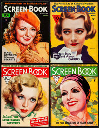 "Screen Book (Fawcett Publications, 1934/1935/1936). Fine/Very Fine-. Magazines (4) (Multiple Pages, 11"" X 8.5""..."