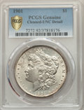 Morgan Dollars, 1901 $1 -- Cleaning -- PCGS Genuine. Unc Details. NGC Census: (92/628 and 0/8+). PCGS Population: (56/730 and 0/15+). CDN: ...