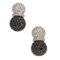 Estate Jewelry:Earrings, Diamond, Colored Diamond, White Gold Earrings. ...