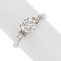 Estate Jewelry:Rings, Diamond, White Gold Ring The ring features a r...