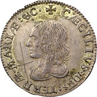 (1659) 6PENCE Maryland Lord Baltimore Sixpence, Large Bust, Hodder 1-B, W-1040, Unique -- Cancellation Marks -- NGC Deta...