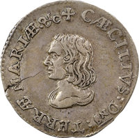 (1659) 4PENCE Maryland Lord Baltimore Groat (Fourpence), Small Bust, Hodder 2-B, W-1020, Unique, AU53 NGC. CAC