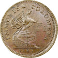 1787 COPPER New York Immunis Columbia / Large Eagle, Wide Planchet, Plain Edge, Breen-1136, W-5680, High R.7, MS64 Brown...