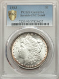 Morgan Dollars, 1893 $1 -- Scratch -- PCGS Genuine. Unc Details. NGC Census: (38/2193 and 0/42+). PCGS Population: (46/4085 and 0/135+). CD...