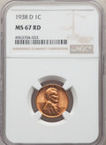 Lincoln Cents: , 1938-D 1C MS67 Red NGC. NGC Census: (804/1). PCGS Population: (457/1). CDN: $95 Whsle. Bid for problem-free NGC/PCGS MS67. ...