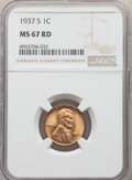 Lincoln Cents: , 1937-S 1C MS67 Red NGC. NGC Census: (397/0). PCGS Population: (219/0). CDN: $220 Whsle. Bid for problem-free NGC/PCGS MS67....