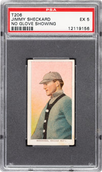 1909-11 T206 Sovereign 350 Jimmy Sheckard (No Glove Showing) PSA EX 5 - Pop One, None Higher for Brand
