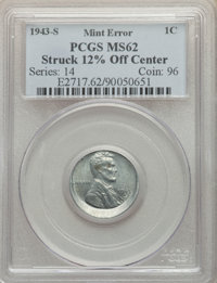 1943-S 1C Lincoln Cent -- Struck 12% Off Center -- MS62 PCGS