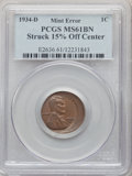 Errors, 1934-D 1C Lincoln Cent -- Struck 15% Off Center -- MS61 Brown PCGS....