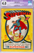 Golden Age (1938-1955):Superhero, Superman #1 (DC, 1939) CGC Apparent VG 4.0 Extensive (P) Cream tooff-white pages....
