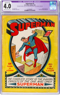 Superman #1 (DC, 1939) CGC Apparent VG 4.0 Extensive (P) Cream to off-white pages