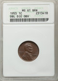 1955 1C Doubled Die Obverse, FS-101, MS61 Brown ANACS