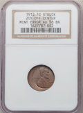 Errors, 1912 1C Lincoln Cent -- Struck 20% Off Center -- AU58 NGC. Off-center toward 3 o'clock. The 2 in the date is partial, as is...