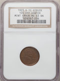 Errors, 1923-S 1C Lincoln Cent -- Struck 10% Off Center -- MS63 Brown NGC. Struck noticeably off center toward 10:30. The legends a...