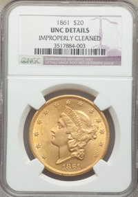 1861 $20 -- Improperly Cleaned -- NGC Details. Unc. Mintage 2,976,453....(PCGS# 8932)