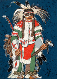 Kevin Red Star (b. 1943) Crow Warrior, c. 1980 Serigraph in colors on wove paper 30-1/2 x 22 inch