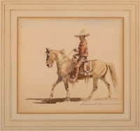 Edward Borein (American, 1873-1945) Mexican Charro and American Cowboy (two works), 1943 Watercolor ... (Total: 2)
