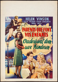 "Are These Our Parents? (Luxur Films, Late 1940s). Rolled, Very Fine. First Post-War Release Belgian (16.25"" X 23.25..."