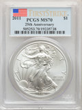 Modern Bullion Coins, (5)2011 $1 Silver Eagle, First Strike MS70 PCGS. PCGS Population: (38385). NGC Census: (53710). MS70.... (Total: 5 coins)