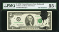 Error Notes:Ink Smears, Black Ink Smear on Face Error Fr. 1935-E $2 1976 Federal Reserve Note. PMG About Uncirculated 55 EPQ.. ...