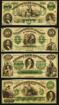 Obsoletes By State:Louisiana, Shreveport, LA- Citizens' Bank of Louisiana $5, $10, $20, $50 18__ Remainders Crisp Uncirculated.. ... (Total: 4 notes)