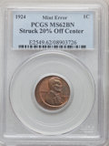 Errors, 1924 1C Lincoln Cent -- Struck 20% Off Center -- MS62 Brown PCGS. Off-center toward 1:30 with WE TRUST and a portion of the...