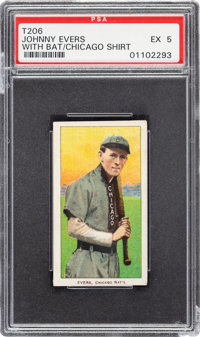 1909-11 T206 Sovereign 350 Johnny Evers (With Bat-Chicago on Shirt) PSA EX 5 - Pop One, One Higher for Brand/Series