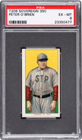 Baseball Cards:Singles (Pre-1930), 1909-11 T206 Sovereign 350 Peter O'Brien PSA EX-MT 6 - Pop Two, None Higher for Brand. ...