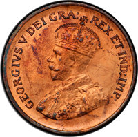 """Canada: George V Specimen """"Dot"""" Cent 1936 SP65 Red and Brown PCGS"""