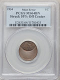 Errors, 1934 1C Lincoln Cent -- Struck 55% Off Center -- MS64 Brown PCGS. Dramatically off-center toward 12 o'clock. The date is co...