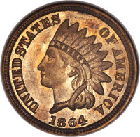 1864 1C One Cent, Pollock-425, Judd-353, 354, or 355, Low R.6, MS66 ANACS....(PCGS# 60520)