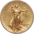 High Relief Double Eagles, 1907 $20 High Relief, Wire Rim XF40 PCGS....