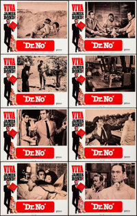 "Viva James Bond: Dr. No (United Artists, R-1970). Very Fine+. Lobby Card Set of 8 (11"" X 14""). Yves Thos Borde..."
