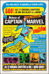 "Adventures of Captain Marvel (Republic, R-1966). Folded, Very Fine-. One Sheet (27"" X 41""). Serial. Reissued a..."