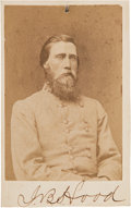 Photography:CDVs, Confederate Lieutenant General John Bell Hood Carte de Visite Signed Twice....