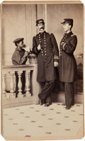 """Photography:CDVs, Two Union Officers with a Young Black """"Powder Monkey"""" Carte de Visite...."""