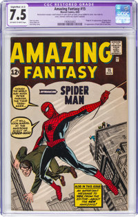 Amazing Fantasy #15 (Marvel, 1962) CGC Apparent VF- 7.5 Slight/Moderate (A-2) Off-white to white pages