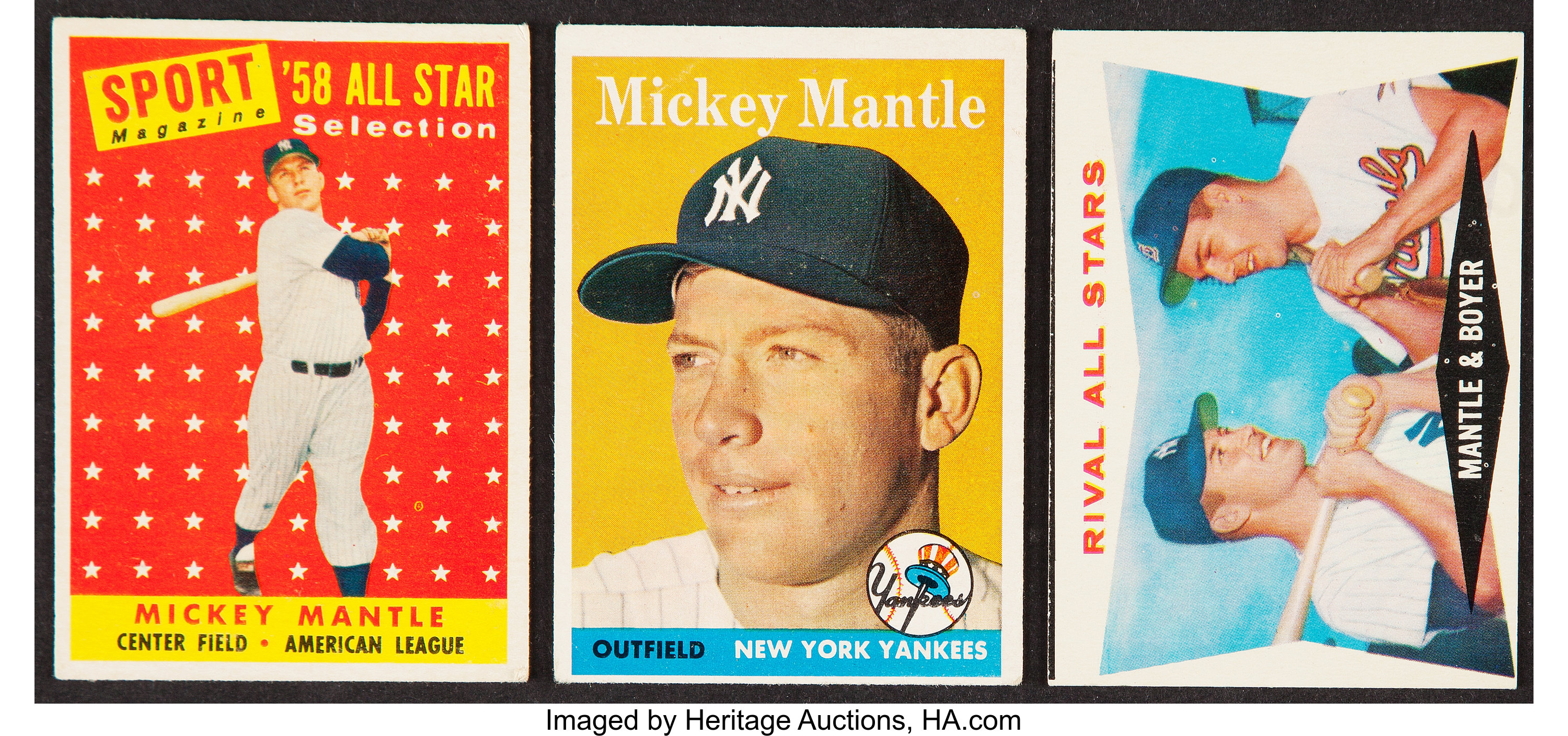 1958 1960 Topps Mickey Mantle Graded Trio 3 Baseball Cards Lot 44070 Heritage Auctions