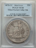 1875-CC T$1 Trade Dollar, Type Two Reverse -- Tilted Partial Collar Strike -- VF30 PCGS. The obverse exhibits a double-w...