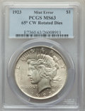 Errors, 1923 $1 Peace Dollar -- 65° Clockwise Rotated Dies -- MS63 PCGS. The reverse is prominently rotated clockwise relative to t...
