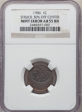 Errors, 1906 1C Indian Cent -- Struck 30% Off Center -- AU55 NGC. Struck widely off center toward 12 o'clock. The date and LIBERTY ...
