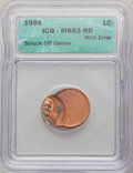 1996 1C Lincoln Cent -- Struck Off Center -- MS63 Red ICG. This lot will also include the following: 1996 1C Lincoln C...