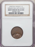 Errors, Undated 1C Lincoln Wheat Cent -- Struck 50% Off Center -- MS64 Brown NGC. Struck widely off-center toward 4:30. The date, E...