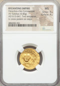 Ancients:Byzantine, Ancients: Heraclius (AD 610-641) and Heraclius Constantine. AV solidus (20mm, 4.46 gm, 7h). NGC MS 4/5 - 4/5....