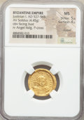 Ancients:Byzantine, Ancients: Justinian I the Great (AD 527-565). AV solidus (20mm, 4.45 gm, 7h). NGC MS 5/5 - 4/5, clipped....