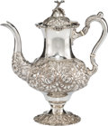 Silver & Vertu:Hollowware, A Stieff Three-Quarter Chased Silver Coffee Pot, Baltimore, Maryland, 1933. Marks: STIEFF, STERLING, HAND CHASED, 1100 1/2...