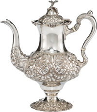 A Stieff Three-Quarter Chased Silver Coffee Pot, Baltimore, Maryland, 1933 Marks: STIEFF, STERLING, HAND CHASED