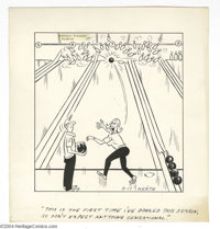 Jeff Keate -Time Out Comic Strip Original Art, Group of 5 (undated, circa 1963). These side-splitting gags about bowling...